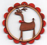 Deer Deer In scalloped frame Tan with red border