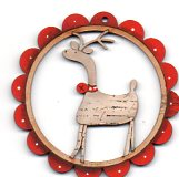 Deer Deer white with red scalloped frame