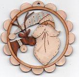 Santa ( blue)& deer, white scalloped frame