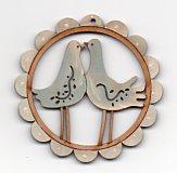 Kissing Birds(blue) & white scalloped frame