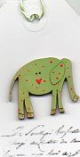 Lime Green Elephant & pink spots Button