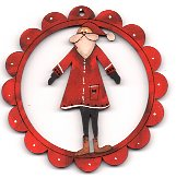 December Santa Red Scalloped deco 78mm