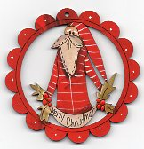 Seasonal Santa Red scalloped Frame 78mm