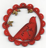 Birdie with berrie in scalloped Red frame 78mm