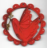 Twig red birdie in red scalloped frame