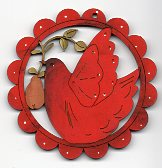 Birdie red, & pear in red scalloped frame