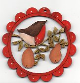 Robin with 2 pears red scalloped frame