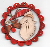 Santa & Deer Chap red scalloped frame deco