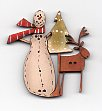Snowman with deer & tree Button