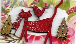 Red Jardin Merry Cat with itty, 2 bush trees & minin bird