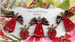 3 Red twig mini angels & 2 strawberries