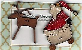 Santa & deers ride the night sky