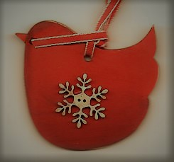 Red Bird decoration with snowflake 5cm