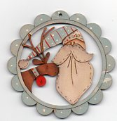 Santa (blue) & deer chap Bluescalloped decoration 78mm