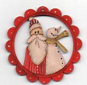 Just Us scalloped red framed decoration 78mm