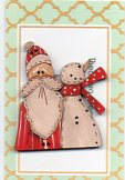 Just Us..Red santa & snowman button