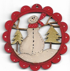 Snowman in trees scalloped decoration 78cm