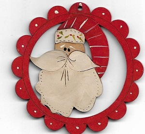 Cheery Santa Face scallop decoration 78 mm