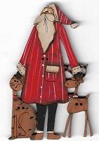 Santa with cat & deer button 8cm
