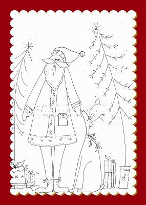 Santa, Deer & Presents Illustrated Stitchery