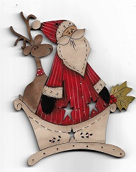 Santa has Deer In Sled Decoration 12cm