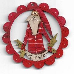 Santa holly swag scallop decoration