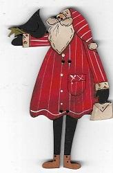 Santa with bird button 8cm