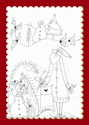 Santa Village Scene ilustrated stitchery