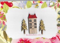 House ( 6 windows) &  2 winter trees set