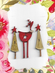 Deer Star Red 7cm & 2 Trees with stars set
