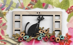 Cat in window flower box  5.5 cm wide