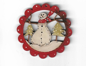 Snowman in trees inside a scalloped frame