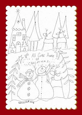 Snowman Village scene Illustrated Stitchery
