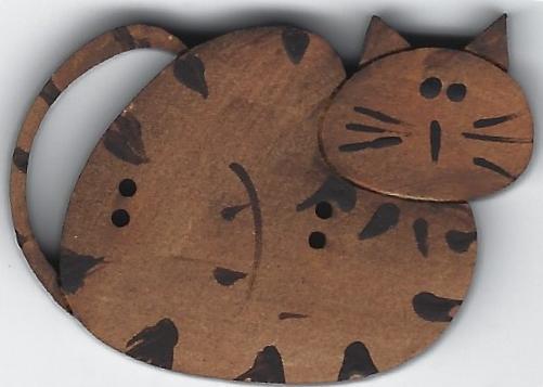 Willow Tabby Tan cat button