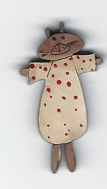 Bear in white with red spots Pin