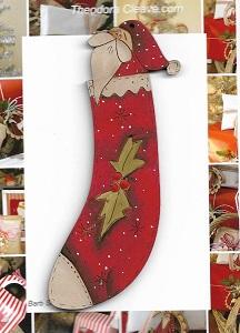Santa in Stocking 12cm decoration