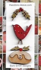 Xmas tag set Pudding, birdie, holly