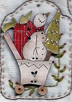 Christmas Snowman trolley button