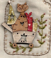 Christmas Cat in Trolley Button