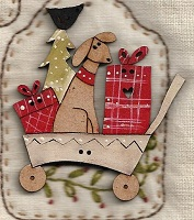 Christmas Dog in Trolley Button